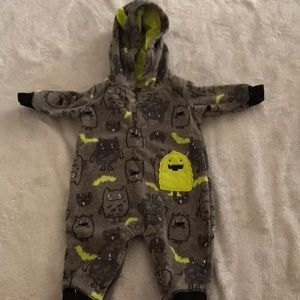 Gray fleece onesie